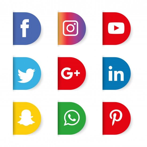 Social media icons set. logo Premium Vector