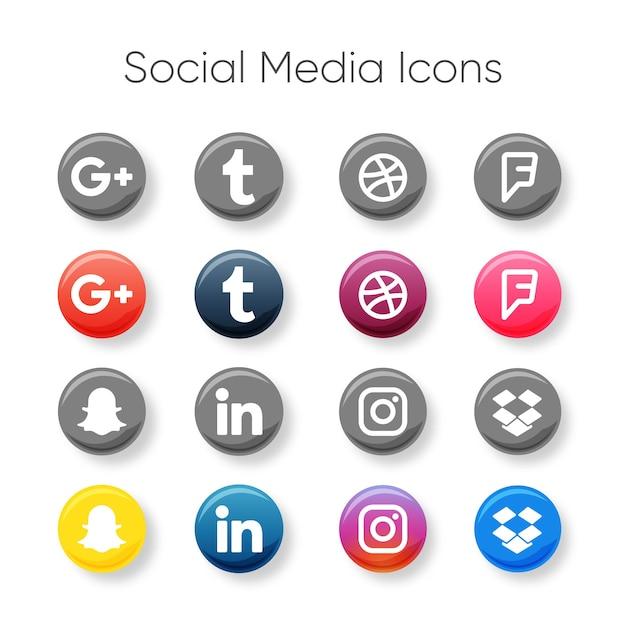 Social media icons set Premium Vector