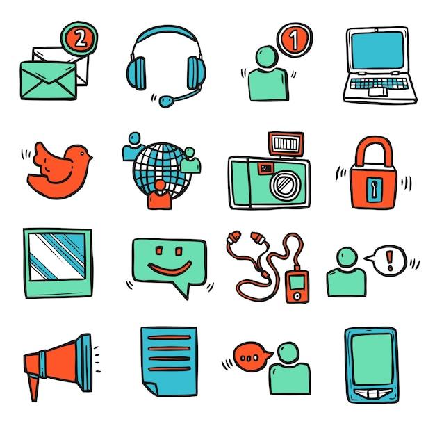 Social media icons set Free Vector