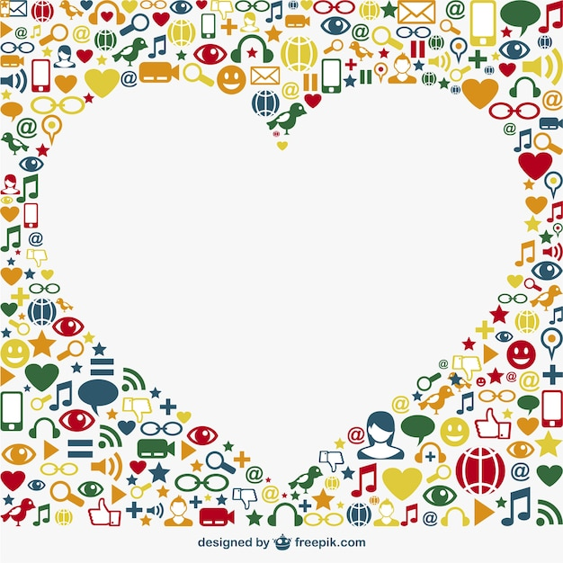 Social media icons surrounding a white heart Free Vector