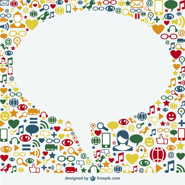 social media icons surrounding a white speech bubble free vector