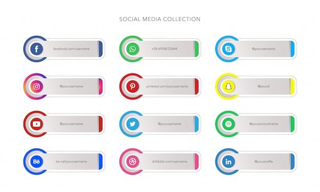 バナーテンプレートコレクションのソーシャルメディアアイコン Premiumベクター