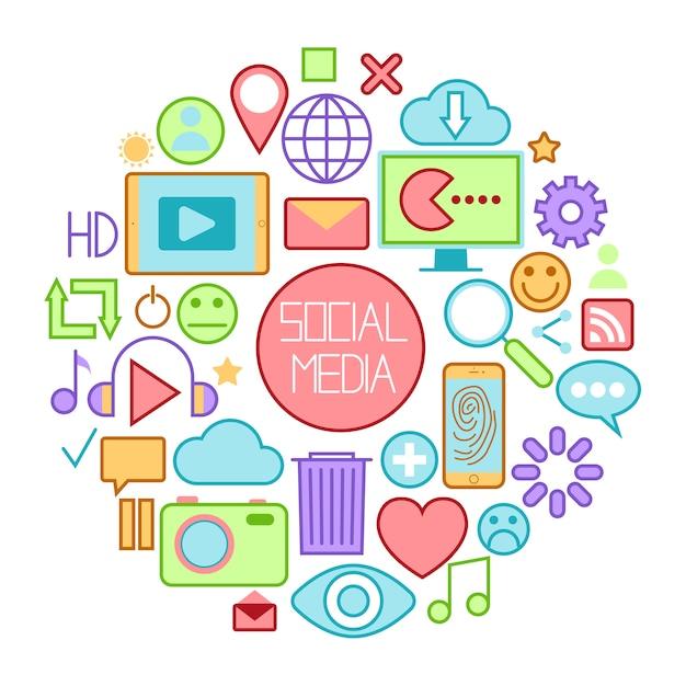 Иконки социальных медиа с смайликами и интернет-устройств. Premium векторы