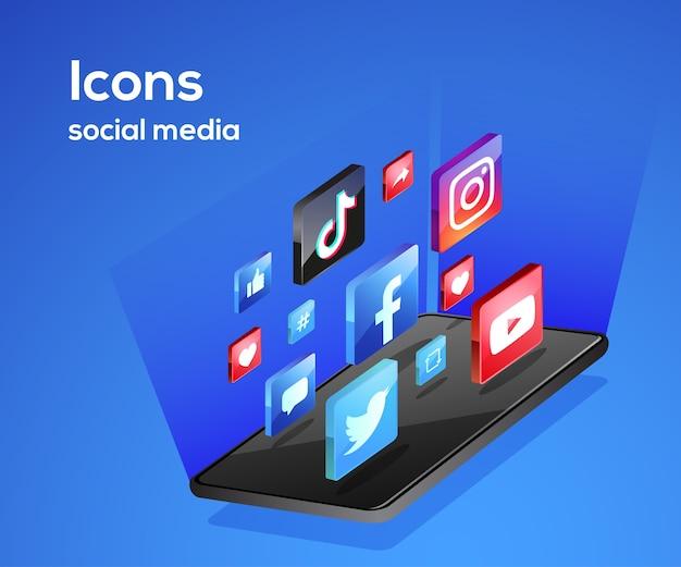 Иконки социальных сетей со смартфоном Premium векторы