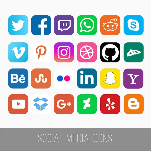 Social media icons Premium Vector