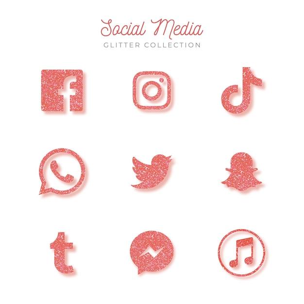 Icone dei social media Vettore gratuito