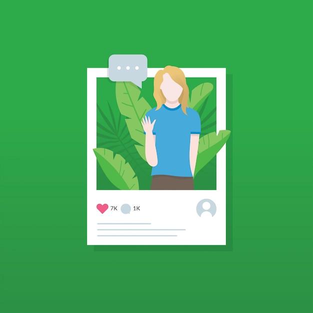 Social media illustration concept Premium Vector