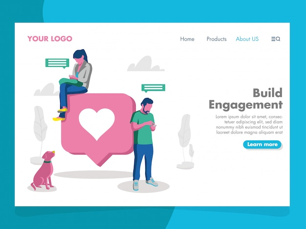 Social media illustration for landing page Premium Vector