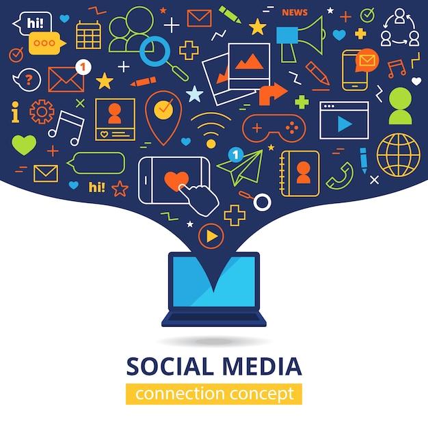 Social media illustration Free Vector