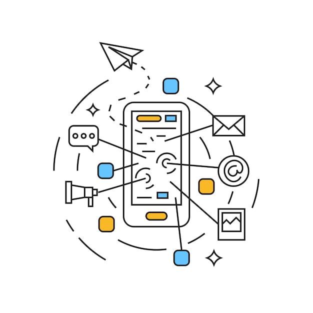 Social media illustration Premium Vector