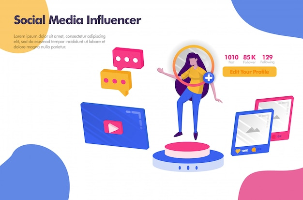 Social media influencer with followers and icon banner Premium Vector