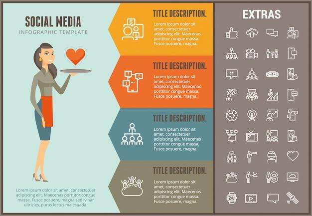 Social media infographic template, elements, icons Premium Vector