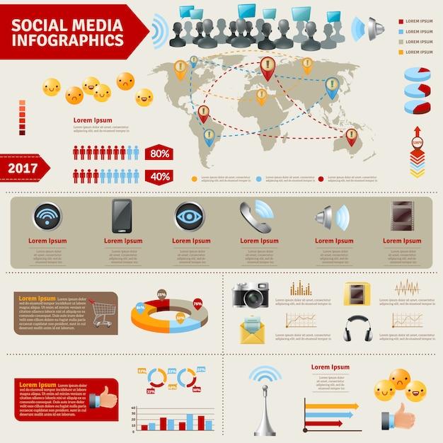 Social media infographics Free Vector
