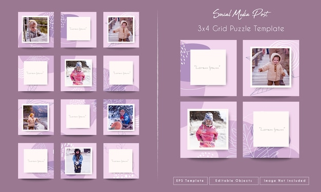 Social media instagram feed post bundle template in grid puzzle Premium Vector