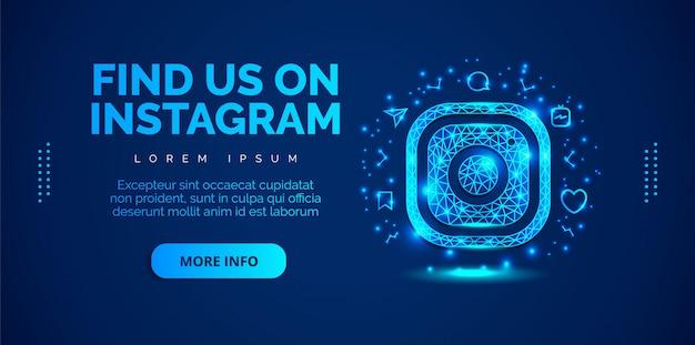 Social media instagram with blue background. Premium Vector