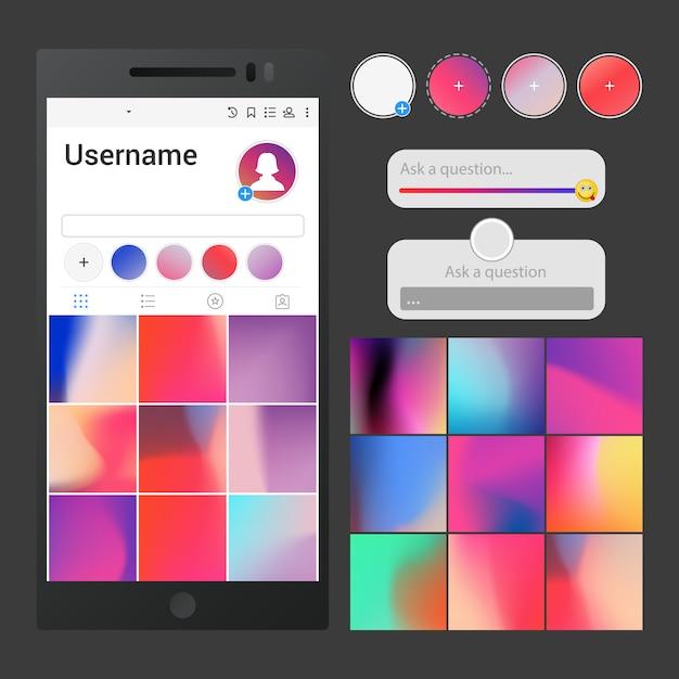 소셜 미디어 인터페이스. Instagram에서 영감을 얻은 포스트 배경, 슬라이더, 질문 영역 및 스토리 버튼 템플릿 응용 프로그램 프리미엄 벡터