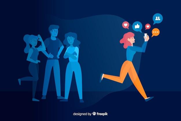 Social media is killing friendship concept Free Vector