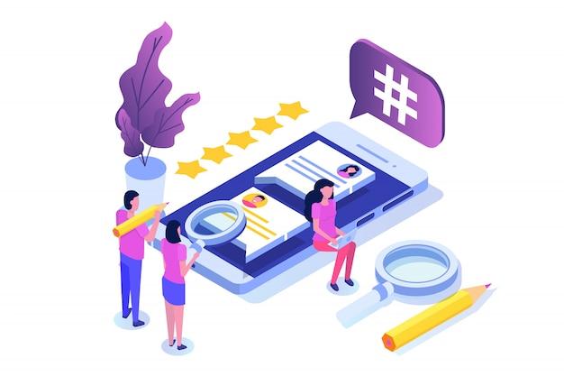 文字とソーシャルメディアの等尺性の概念。ランディングページテンプレート。図 Premiumベクター