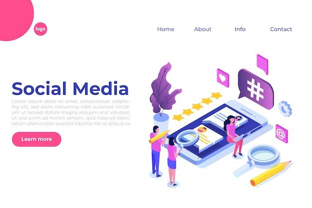 Социальные медиа изометрической концепции с персонажами. шаблон целевой страницы. иллюстрация Premium векторы