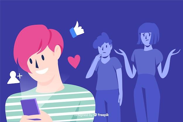Social media killing friendships concept Free Vector