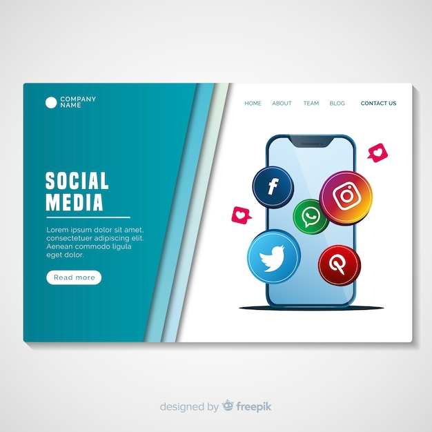 Social media landing page template Free Vector