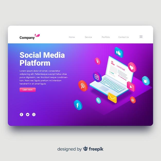 Social media landing page Free Vector