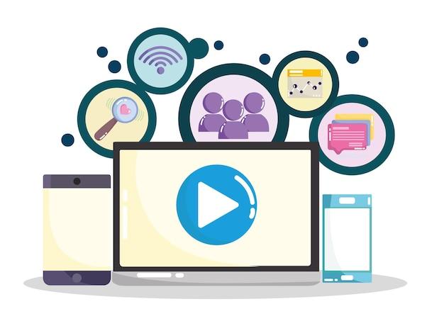 ソーシャルメディアラップトップスマートフォンモバイルwifiインターネットバイラルコンテンツイラスト Premiumベクター