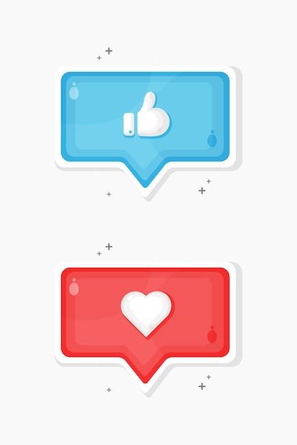 Нравится и любимые иконки в социальных сетях Premium векторы