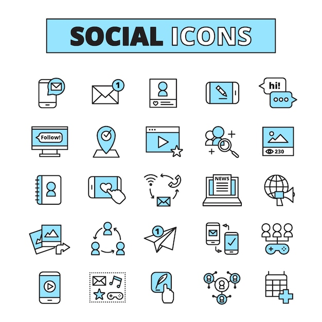 Social media line icons set for internet community email communication and group network share isolated Free Vector