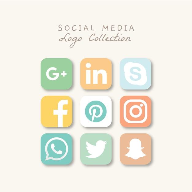 ソーシャルメディアのロゴコレクション Premiumベクター