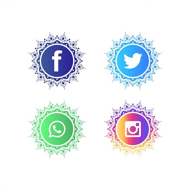 Social media logo collection Premium Vector