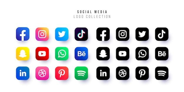 Collezione di logo di social media Vettore gratuito