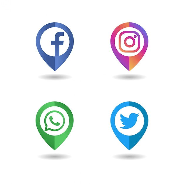 Social media logo icon pin concept Premium Vector