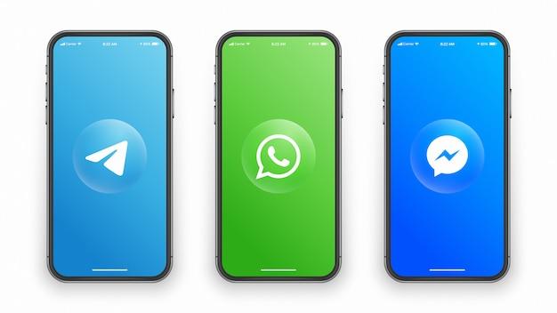 Социальные медиа логотип на экране телефона Premium векторы