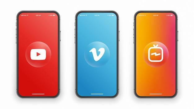 電話スクリーンのソーシャルメディアロゴ Premiumベクター