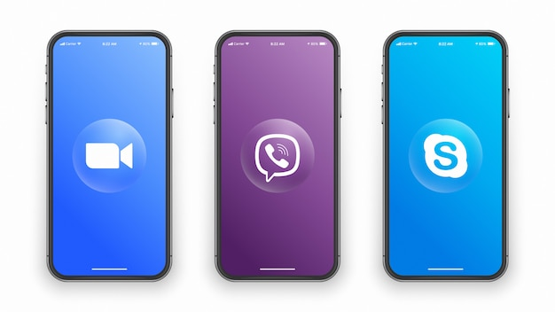 Social media logo on phone screen Premium Vector