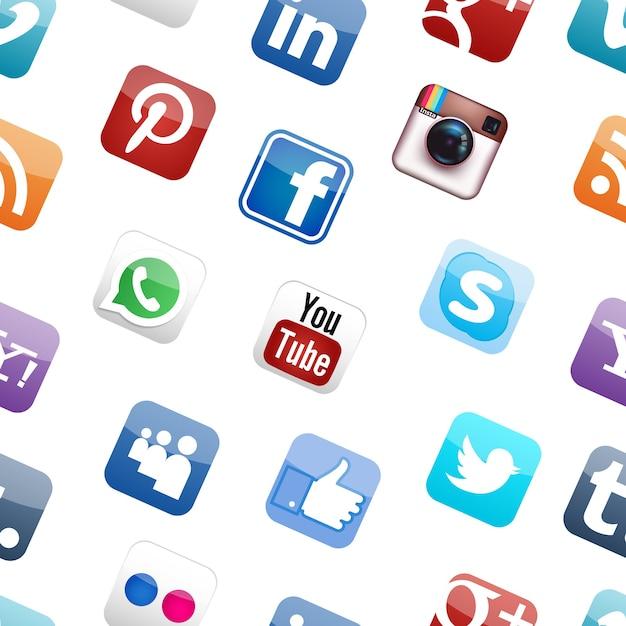 소셜 미디어 로고 원활한 패턴 흰색 배경 무료 벡터