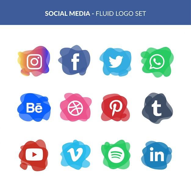 Social media logo set in fluid style Free Vector