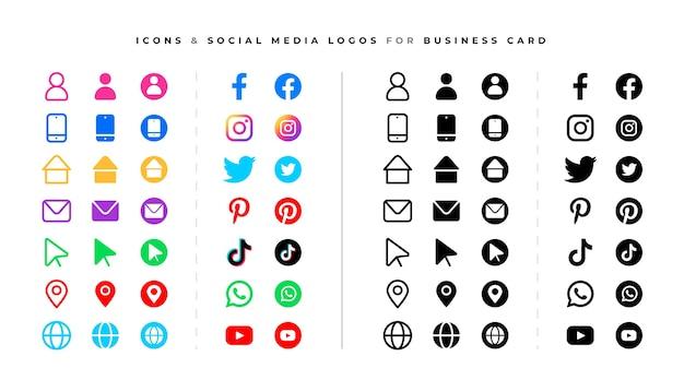 Набор логотипов социальных сетей и иконок Бесплатные векторы