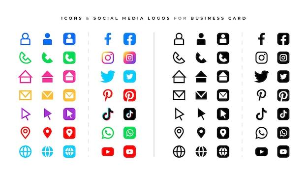 Набор логотипов и значков социальных сетей Бесплатные векторы