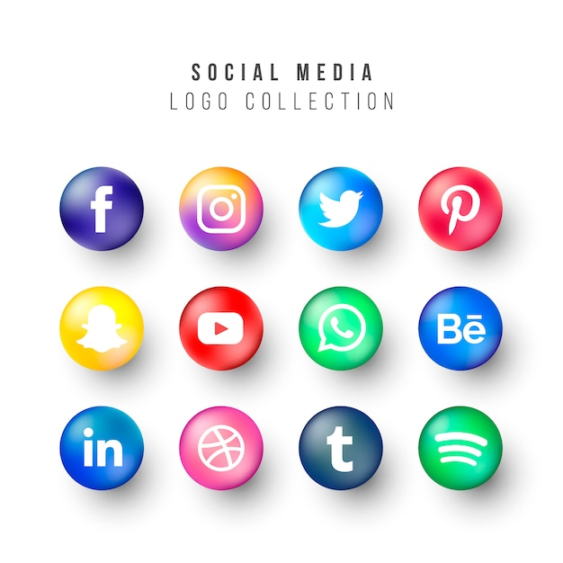 Social media logos collection with realistic circles Free Vector