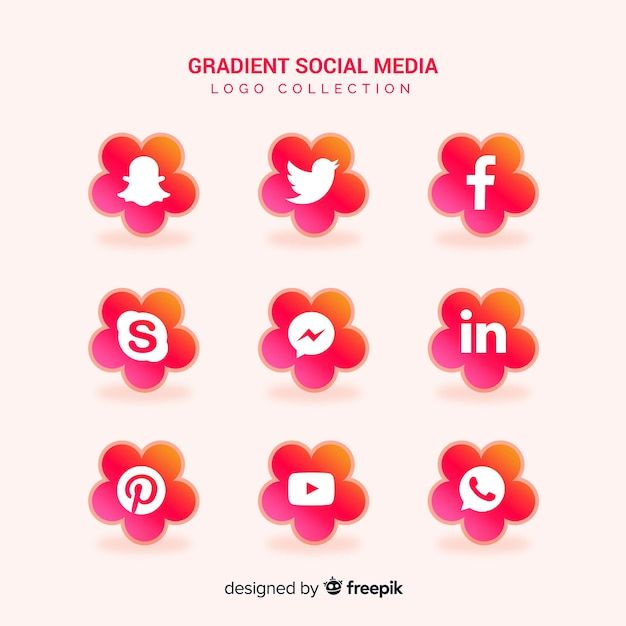 Social media logotype collection Free Vector
