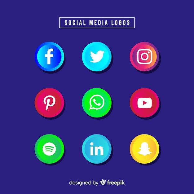 Social media logotype collection Free Vector