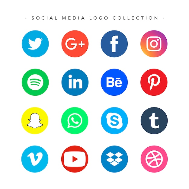 Social media logotype set Free Vector