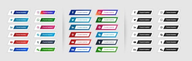 Social media lower third banners in three styles Free Vector