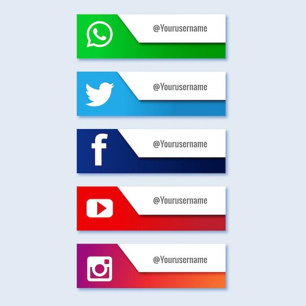 Социальная сеть нижней трети коллекции Бесплатные векторы