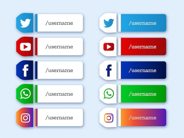 Социальные медиа нижней трети современных иконок Бесплатные векторы