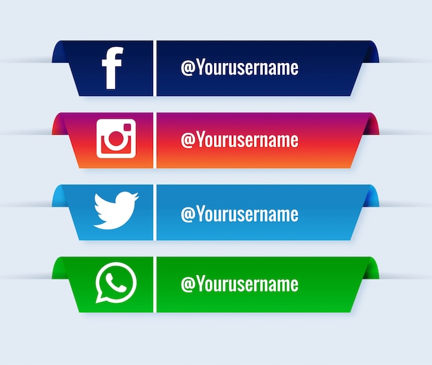 Social media lower thirds popular collection set Free Vector