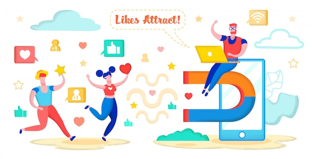 Social media marketing, attracting hearts, stars. Premium Vector