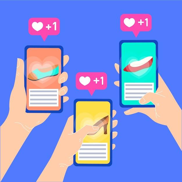 Social media marketing concept illustration Free Vector